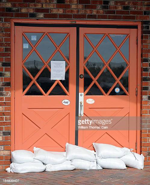 The Rusty Nail has sand bags in front of the doors in preparation for Hurricane Sandy October 27, 2012 in Cape May, New Jersey. New Jersey Governor...