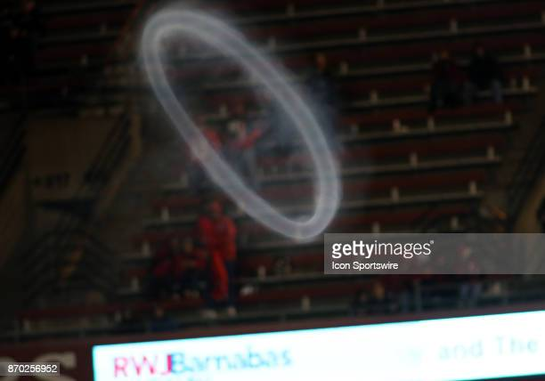 The Rutgers Scarlet Knights Cannon shot a perfect smoke circle during a match between the University of Maryland and Rutgers University on November...