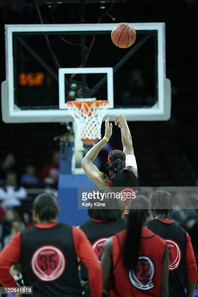 The Rutgers team plays a free throw game in the final minutes of practice in preparation for the semifinal game during the Final Four at Quicken...