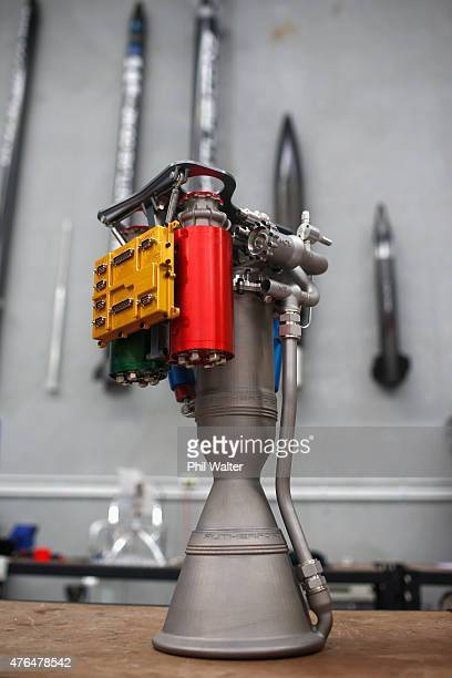 The Rutherford is pictured at RocketLab Auckland's headquarters on June 10 2015 in Auckland New Zealand The Rutherford a batterypowered rocket engine...