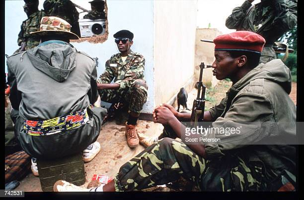 The Rwandan Patriotic Front a Tutsi led rebel army prepares to march into the city May 25 1994 in Kigali Rwanda Following the assassination of...