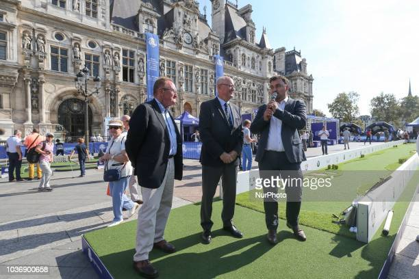 The Ryder Cup Director Richard Hills the President of French Golf Federation JeanLou Charon and Paris' Deputy Mayor in charge of Sport and Tourism...