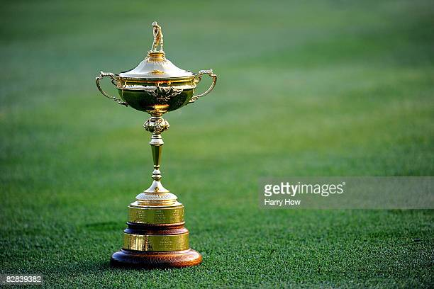 The Ryder Cup is shown on the ninth hole during the European team photo shoot prior to the start of the 2008 Ryder Cup at Valhalla Golf Club on...