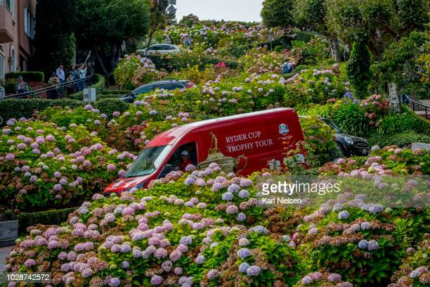 The Ryder Cup Trophy and is transported in the Ryder Cup Trophy Van down Lombard Street. September 6, 2018 in San Francisco, California.