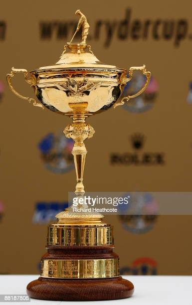 The Ryder Cup Trophy is displayed during a press conference for the 2010 Ryder Cup at the Celtic Manor Wales Open on the 2010 Course at The Celtic...