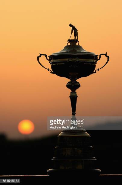 The Ryder Cup trophy is pictured during the Ryder Cup trophy 2018 Year to Go event at Le Golf National on October 16 2017 in Paris France