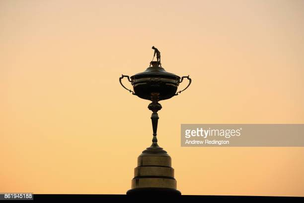 The Ryder Cup trophy is pictured during the Ryder Cup trophy 2018 Year to Go event at Le Golf National on October 16, 2017 in Paris, France.