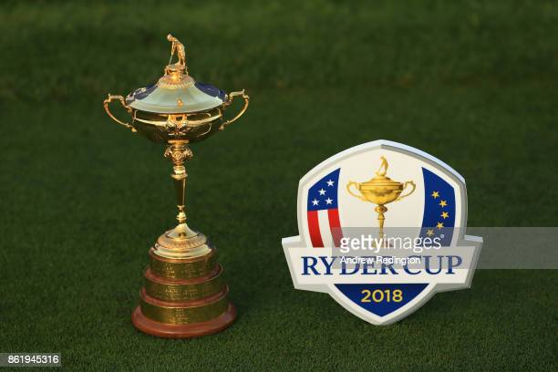 The Ryder Cup trophy is pictured next to a tee marker during the Ryder Cup trophy 2018 Year to Go event at Le Golf National on October 16 2017 in...