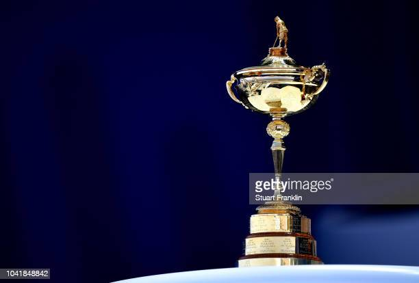 The Ryder Cup trophy on display during the opening ceremony for the 2018 Ryder Cup at Le Golf National on September 27 2018 in Paris France
