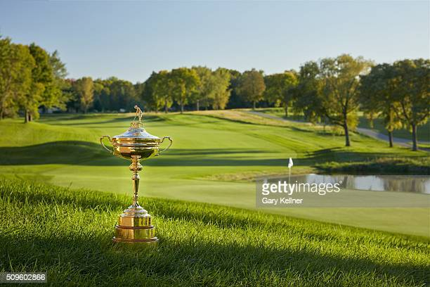 The Ryder Cup trophy sits behind the 16th green at Hazeltine National Golf Club the host venue for the 2016 Ryder Cup Matches on September 27, 2015...