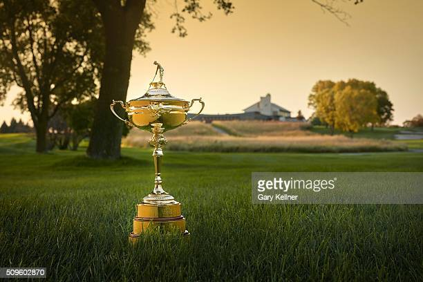 The Ryder Cup trophy sits near the 18th tee looking at the clubhouse at Hazeltine National Golf Club the host venue for the 2016 Ryder Cup Matches on...