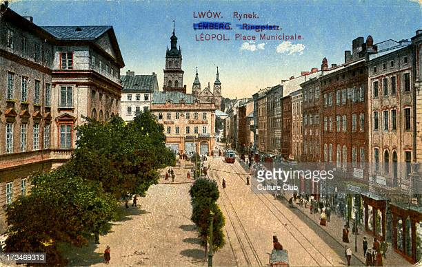 The Rynok Square in Lviv , Ukraine, 1918. Also known as the market place. Shows trams on the tramlines and various buildings.
