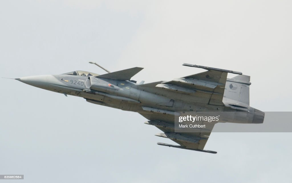 The Saab JAS-39 Gripen performs at the Festival of Flight at Biggin Hill Airport on August 20 on August 20, 2017 in Biggin Hill, England.