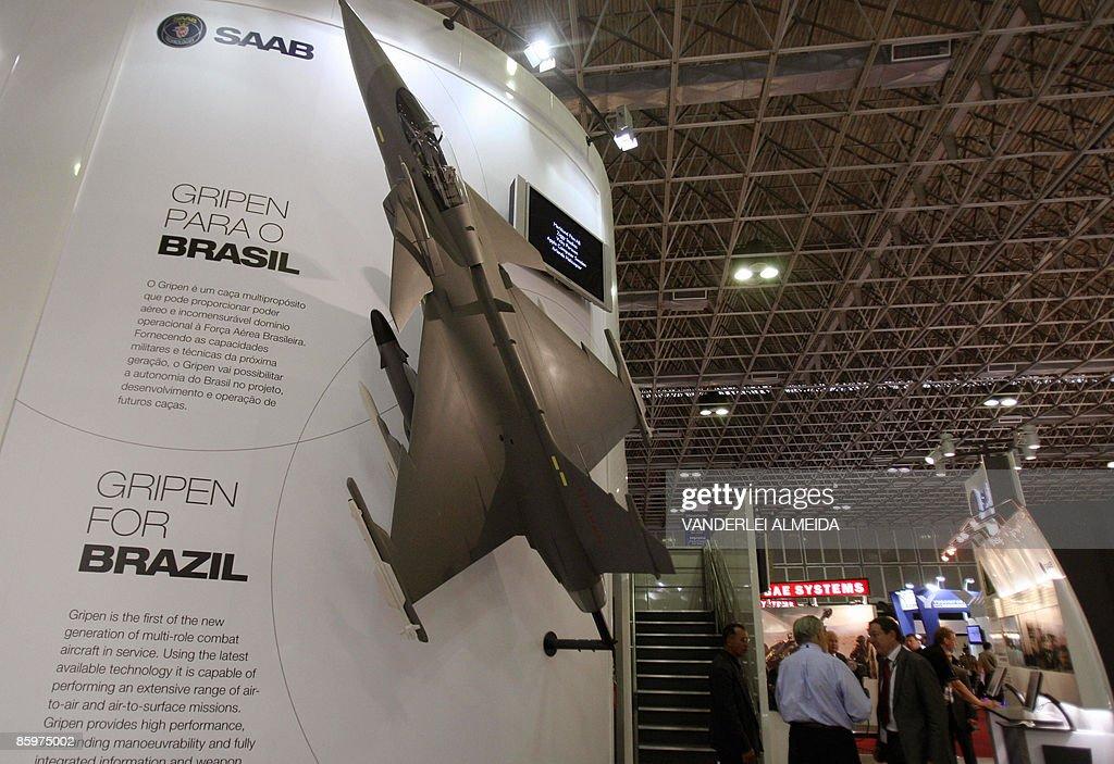 The SAAB stand at the Latin America Aerospace & Defence Fair