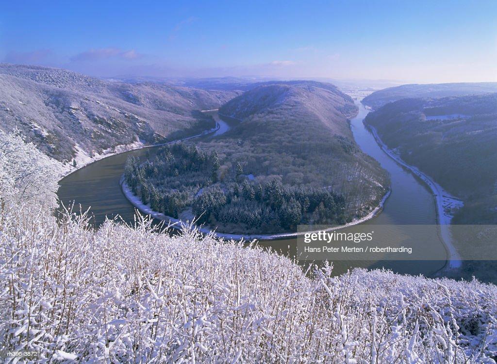 The Saar Valley near Mettlach, in winter, Saarland, Germany, Europe : Stockfoto