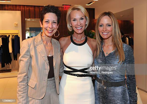 The Saban Free Clinic's CEO Abbe Land philanthropist Cheryl Saban and 20th Century Fox Television Chairman Dana Walden attend a luncheon benefiting...