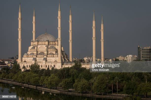 The Sabanci Mosque is seen in the early morning on June 2 2018 in Adana Turkey The Sabanci Mosque is Turkey's largest mosque and is built on a total...