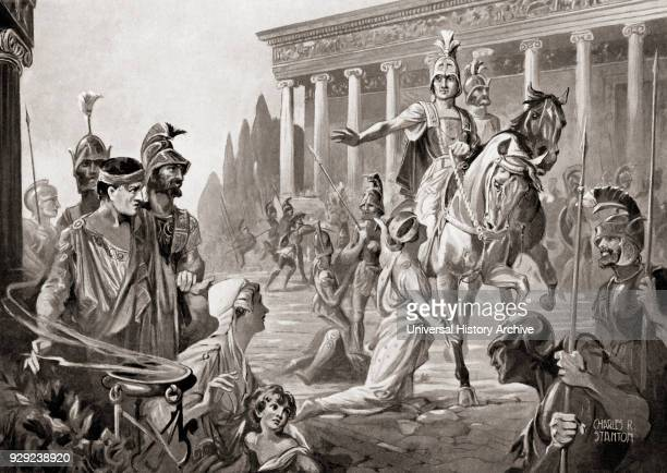 The sacking of Thebes Greece in 335 BC by Alexander The Great aka Alexander III of Macedon From Hutchinson's History of the Nations published 1915