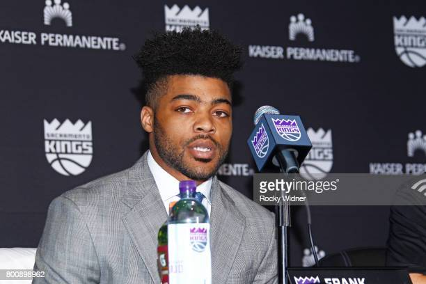 The Sacramento Kings 2017 Draft Pick Frank Mason III addresses the media on June 24 2017 at the Golden 1 Center in Sacramento California NOTE TO USER...