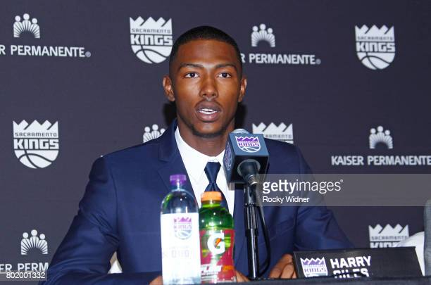 The Sacramento Kings 2017 Draft Pick Harry Giles addresses the media on June 24 2017 at the Golden 1 Center in Sacramento California NOTE TO USER...
