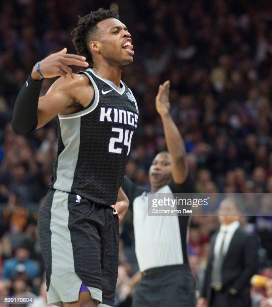 The Sacramento Kings' Buddy Hield celebrates a 3point basket against the Cleveland Cavaliers on Wednesday Dec 27 at Golden 1 Center in Sacramento...