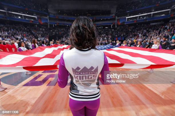 The Sacramento Kings dance team holds up the American flag during the game against the Denver Nuggets on February 23 2017 at Golden 1 Center in...