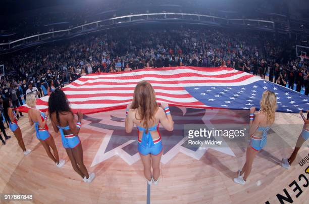 The Sacramento Kings dance team holds up the American flag during the national anthem of the game against the Chicago Bulls on February 5 2018 at...