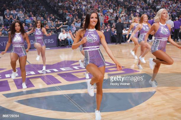 The Sacramento Kings dance team perform during the game against the New Orleans Pelicans on October 26 2017 at Golden 1 Center in Sacramento...