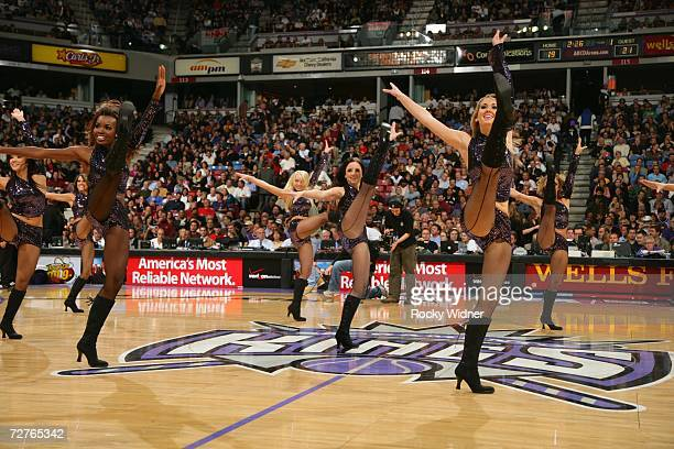 The Sacramento Kings Dance Team performs during an intermission in the game against the Los Angeles Clippers at Arco Arena on November 28 2006 in...