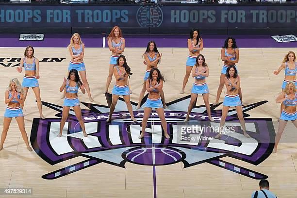 The Sacramento Kings dance team performs during the game against the Houston Rockets on November 6 2015 at Sleep Train Arena in Sacramento California...