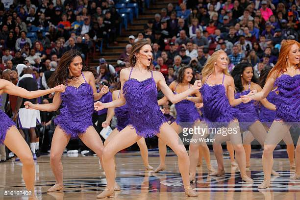 The Sacramento Kings dance team performs during the game against the Utah Jazz on March 13 2016 at Sleep Train Arena in Sacramento California NOTE TO...