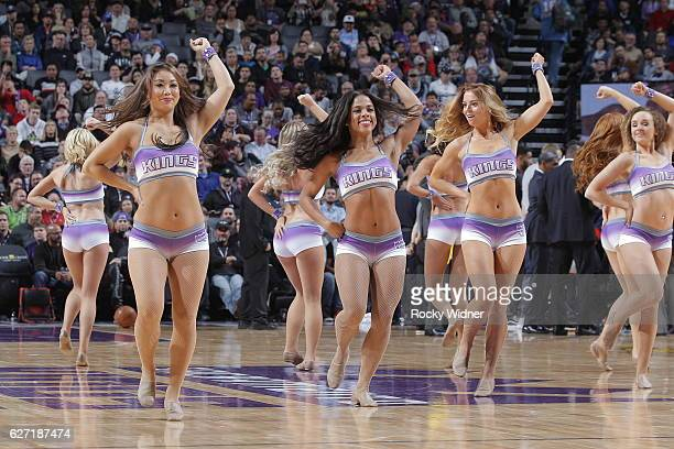 The Sacramento Kings dance team performs during the game against the Oklahoma City Thunder on November 23 2016 at Golden 1 Center in Sacramento...