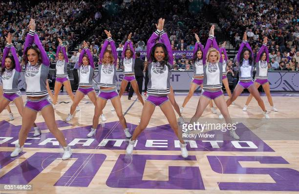 The Sacramento Kings dance team performs during the game against the Boston Celtics on February 8 2017 at Golden 1 Center in Sacramento California...