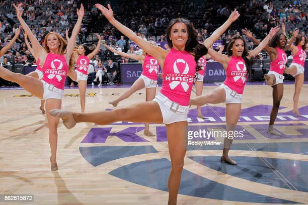 The Sacramento Kings dance team performs during the game against the Portland Trail Blazers on October 9 2017 at Golden 1 Center in Sacramento...