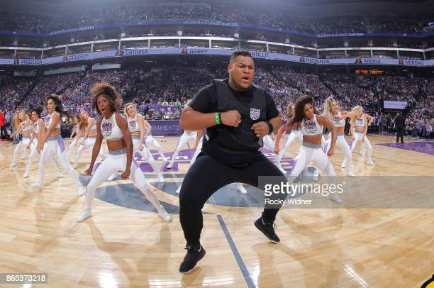 The Sacramento Kings dance team performs during the game against the Houston Rockets on October 18 2017 at Golden 1 Center in Sacramento California...
