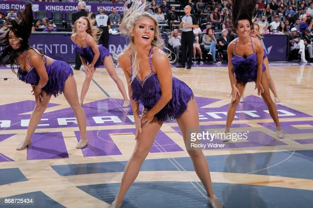 The Sacramento Kings dance team performs during the game against the Washington Wizards on October 29 2017 at Golden 1 Center in Sacramento...