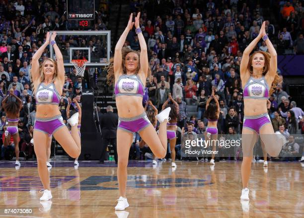 The Sacramento Kings dance team performs during the game against the Oklahoma City Thunder on November 7 2017 at Golden 1 Center in Sacramento...