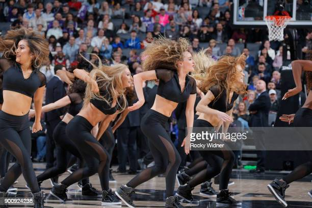 The Sacramento Kings dance team performs during the game against the Cleveland Cavaliers on December 27 2017 at Golden 1 Center in Sacramento...