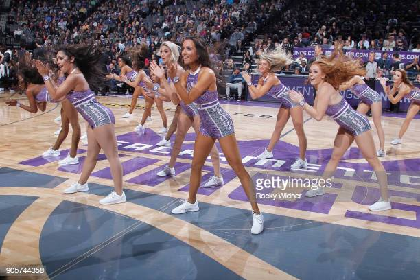 The Sacramento Kings dance team performs during the game against the San Antonio Spurs on January 8 2018 at Golden 1 Center in Sacramento California...