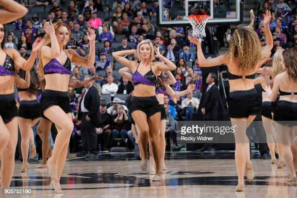 The Sacramento Kings dance team performs during the game against the Los Angeles Clippers on January 11 2018 at Golden 1 Center in Sacramento...