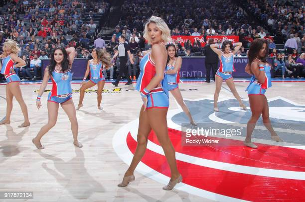 The Sacramento Kings dance team performs during the game against the Chicago Bulls on February 5 2018 at Golden 1 Center in Sacramento California...