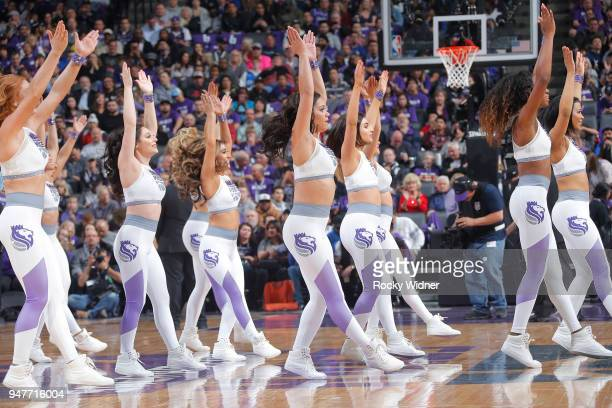 The Sacramento Kings dance team performs during the game against the Houston Rockets on April 11 2018 at Golden 1 Center in Sacramento California...