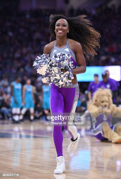 The Sacramento Kings Dancers performs during an NBA basketball game against the Charlotte Hornets at Golden 1 Center on January 2 2018 in Sacramento...