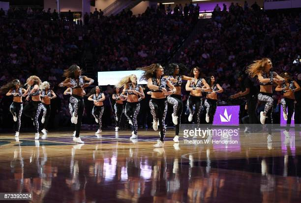 The Sacramento Kings Dancers preform while there's a break in the action against the Philadelphia 76ers during an NBA basketball game at Golden 1...