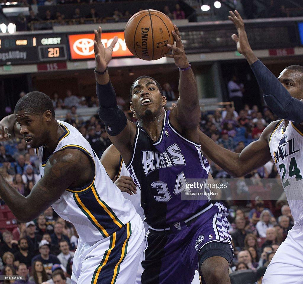 The Sacramento Kings' Jason Thompson (34) grabs a rebound against the Utah Jazz at Sleep Train Arena in Sacramento, California, on Saturday, February 9, 2013.
