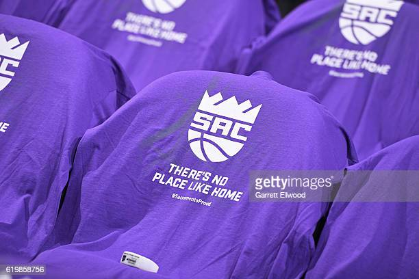 The Sacramento Kings lay shirts on the seats for the fans before the game against the San Antonio Spurs on October 27 2016 at the Golden 1 Center in...
