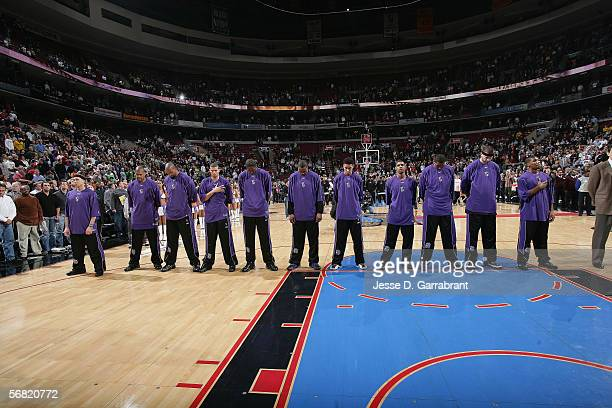 The Sacramento Kings line up on the court for the singing of the national anthem prior to the game against the Philadelphia 76ers on January 24 2006...