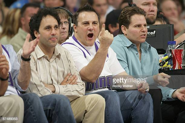 The Sacramento Kings owners George Gavin and Joe Maloof sit courtside as their team takes on the San Antonio Spurs in game three of the Western...