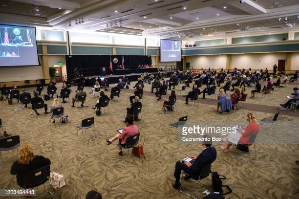The Sacramento State ballroom was configured for Joseph James DeAngelo's admission to being the Golden State Killer on Monday July 29 with chairs...