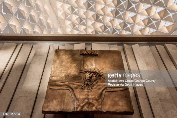 The sacred art at Christ Cathedral in Garden Grove on Monday, July 8, 2019 includes the 14 stations of the cross by Bolivian-born sculptor Pablo...